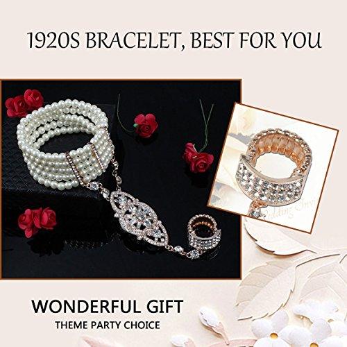 HAMIST 1920s Accessories Bracelet Ring Set Great Gatsby Adjustable Bracelet Art Deco For Women