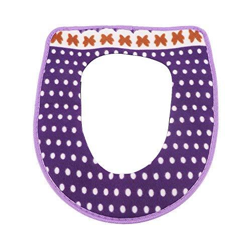 MOXUZI Funda de Asiento de Inodoro Almohadillas de cojín,Almohadilla de Inodoro más cálida para el Invierno,Almohadillas de Cubierta de Asiento(Purple)