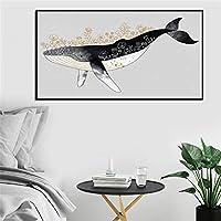 漫画クジラ現代抽象絵画壁アートキャンバス絵画北欧のポスターと家の装飾のための壁の写真を印刷する60x120cmフレームレス