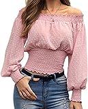 Blusa Mujer Top Fuera del Hombro Camiseta Escote Barco con Mangas Largas Lunares Hinchados Elegante (Rosa, L)