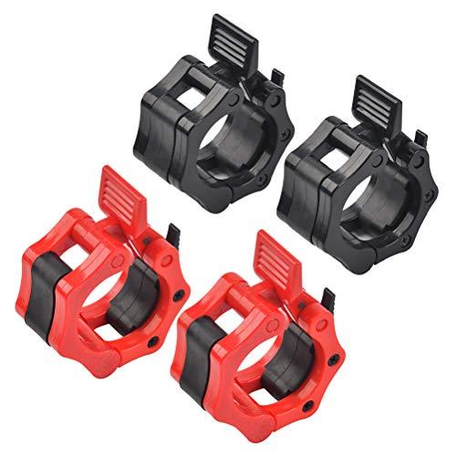 N\\A 2 Stück Barbell Halsbänder Barbell Collar Hantelverschlüsse Hantelstangen Verschluss 2,5 cm Langhantelklemmen mit rot schwarz für Fitness Krafttraining Gewichtheben