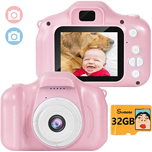 Svabobe Kids Digital Camera Video Mini Rechargeable Camcorder 2 Inch IPS Screen with 32GB TF Card for Girls Children Toddler 3-10 Year Old Birthday Christmas New Year Toy Gift (Pink)