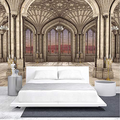Mtisrx Custom 3D Photo Wallpaper Style Retro Marble Stone Pillar 3D Space Mural Living Room Decoration Background Wall Paper-250cmx175cm