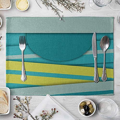 Clavie Lot de 4 Set de Table Bleu Jaune Rectangulaire Antidérapant 40x30cm Tissu en Coton et Lin Tapis de Table