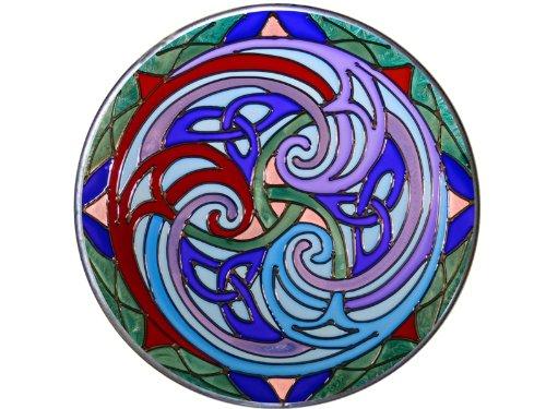 Celtic Triskele 10' Diameter Violet/Blue Art Glass Stained Glass Piece