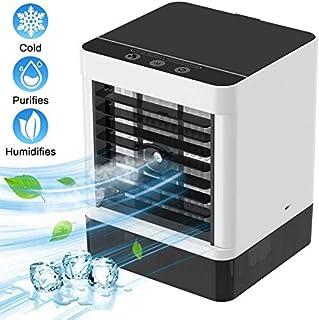 Faraone4w Personal Air Cooler Mini Enfriador de Aire,3 en 1 Ventilador Aire Acondicionado, Humidificador y Purificador, Air Cooler Fan USB Table Fan Humídrico de Aire para Trabajo y Hogar