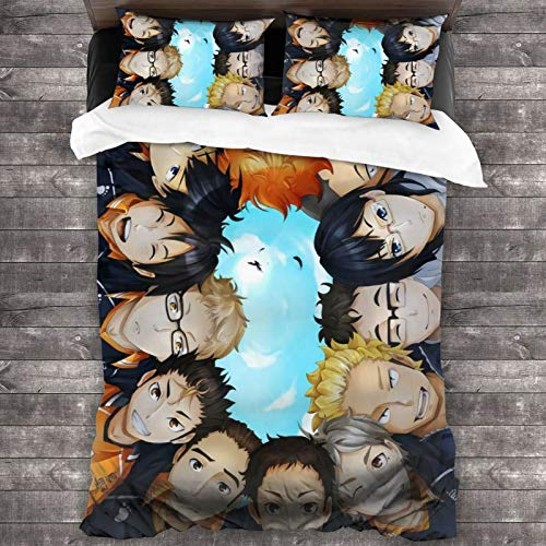 YCY HOT MART Haikyuu Anime Bedding Set Coverlet Set 3-Piece Set Large Size Bright Vibrant Duvet Cover Set with 1 Quilt Cover 2 Pillow Shams - Modern Style Ultra Soft Breathable Sheet Set - 86' x70