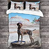 HAIDILUN German Shorthaired Pointer Dog 3-Piece Bedding Set,All-Season Quilt Duvet Cover with 2 Pillowcases, Soft Zipper Bedspread Coverlet No Comforter 86'x70'