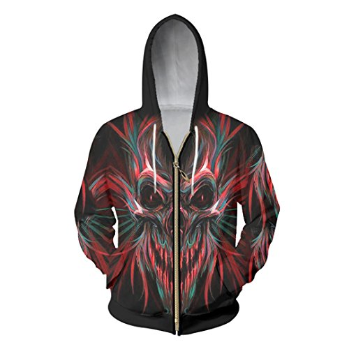 Hombres/Mujeres 3D Impreso Cool Print Feather Skull Chaqueta Sport Pullover Zipper Hoodies Sudadera Black Red Mixed M