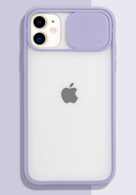 iPhone 11 Case with Camera Cover [Slide Camera Lens Protection][Matte Soft Bumper][Anti-Fingerprint] Camera Lens Protector Slide Camera Cover Case for iPhone 11 Light Purple