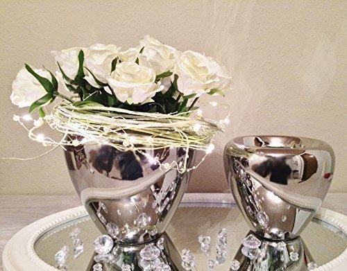 DRULINE 2er Set Keramik Vase Silber Urne Blumenvase Dekovase Tischvase Shabby Chic 9544-22/18
