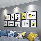 AMY-ZW 10 Set Frame Frame Solid Wood Fotografías Fotografías Colgando Fotografía Exhibición Galería Escaleras Café Sala de Estar Fondo Regalos de decoración-A