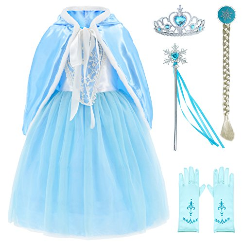 Princess Snow Queen Elsa Costumes Fancy Party Birthday Dress Up For Girls with Accessories 4-5 Years(110cm)