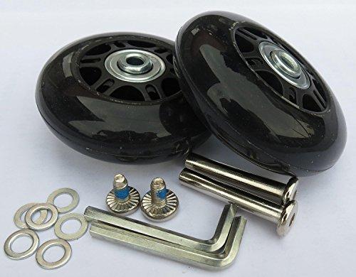 Juego de 2 ruedas de repuesto para maleta de equipaje con rodamientos ABEC 608zz, empaquetado con nuestra propia bolsa de diseño con el logotipo de Eric & Leon