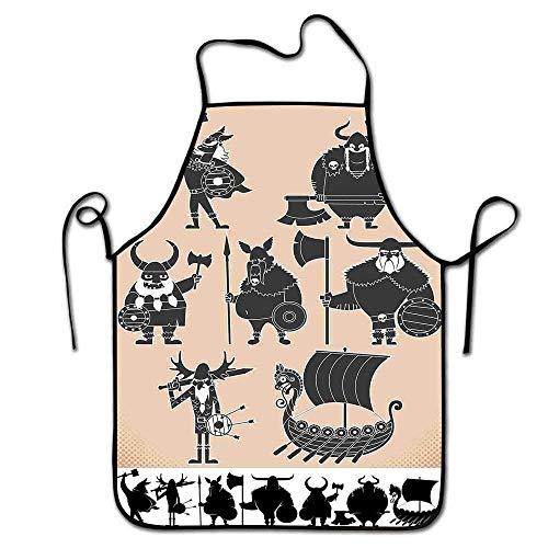 Nordic Apron Bulk Cartoon Wikinger Silhouetten Lustige Krieger und historische Drekar Boot Schürze Kochen, Grill Beige Charcoal Grey Black