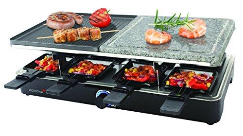 Korona 45051 Raclette Grill |8 Personen | Tischgrill mit 8 Pfännchen und 8 Spatel | antihaftbeschichtete Grillplatte | Grillstein