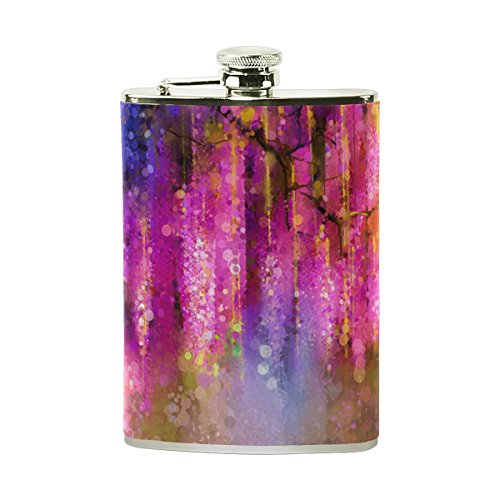 TIZORAX - Petaca de acero inoxidable con diseño de flores rojas y amarillas, color violeta, para...