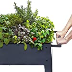 """FOYUEE Raised Planter Box with Legs Outdoor Elevated Garden Bed On Wheels for Vegetables Flower Herb Patio 9 SIZE: 40-1/2"""" L x 15-1/2"""" W x 31-1/2"""" H overall, planting box: 37-1/2"""" L x 15-1/2"""" W x 8"""" deep, holds about 2.5 cubic feet soil, provide ample growing space to raise vegetables, herbs, flowers and plants ERGONOMIC: Elevated raised planter box with legs eliminates the need to bend over, making gardening convenient. Raised garden bed on wheels, move to anywhere you want, with handy shelf holds accessories or tools METAL: Made of stable galvanized steel raised garden bed with anti-rusty grey coating, not made of wood which may rot. It can place outside or indoor for long time use"""