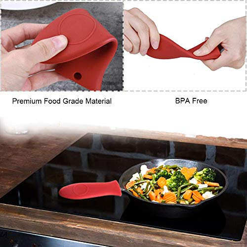 Hushtong Silicone Hot Handle Holder,Rubber Pot Handle Sleeve Heat Resistant Cover Heat Protecting Handle Holder for Cast Iron Skillets/Pans/Griddles/Red and Black,4Pack