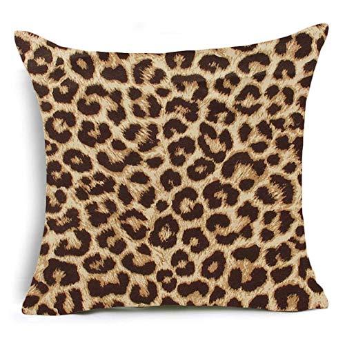 PPMP Funda de Almohada con Estampado Animal, Estampado de Leopardo, Tigre, Cebra, Ganado, Funda de cojín Serpiente, Funda de Almohada Decorativa para sofá de casa, Funda de cojín A5 45x45cm 1pc