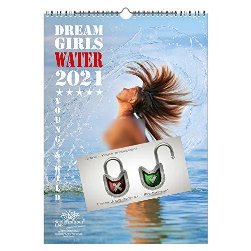 Sexy Water Girls DIN A3 Kalender für 2021 Erotik - Geschenkset Inhalt: 1x Kalender, 1x Weihnachts- und 1x Grußkarte (insgesamt 3 Teile)