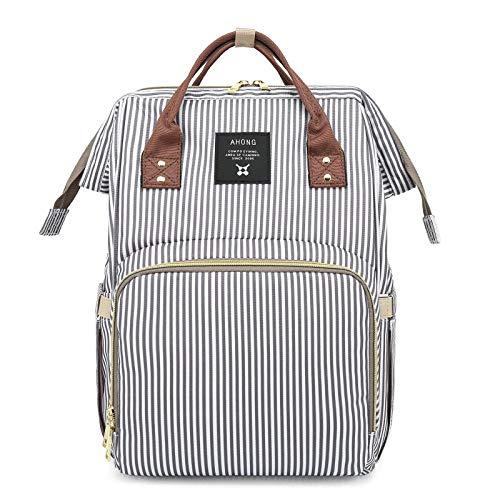 qiqiu Kapazität Babytasche Multifunktionale Muttertasche mit großem Fassungsvermögen - feine graue Streifen Wickelrucksack Wickeltasche multifunktional