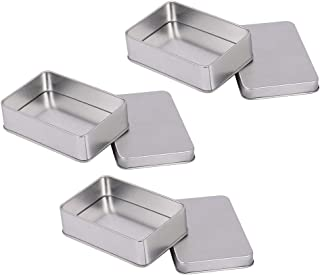 Baosity 3X Rectangle Small Metal Tin Storage Box Case for Badge Money Coin Candy Key