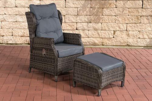 CLP Polyrattan-Sessel Breno Mit Sitzpolster Und Fußhocker I Relaxsessel Mit Verstellbarer Rückenlehne, Farbe:grau-meliert, Polsterfarbe:Eisengrau