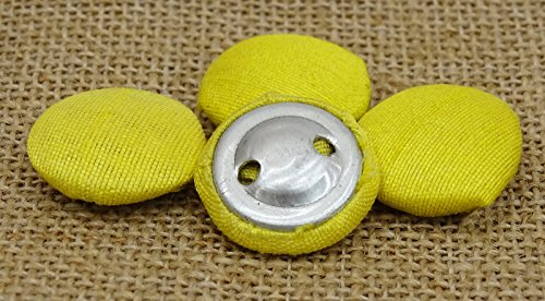 Knitwit Poly Dupion Yellow Solid Color Cloth Covered 2 Holes Sewing Craft Buttons Sewing - Pack of 12 Pieces
