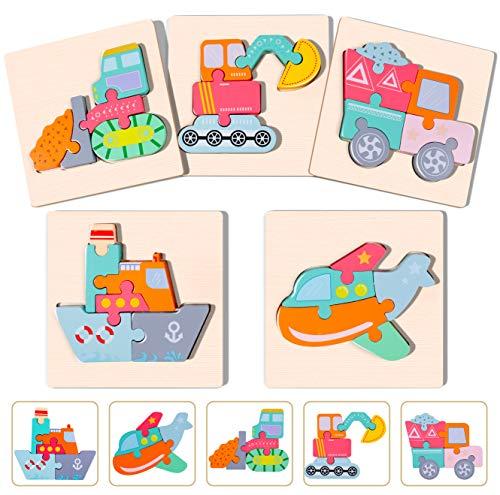 Rolimate Rompecabezas de Madera Rompecabezas Juguetes para niños pequeños para 3 4 5+ años Niños y niñas Preescolar Educativos Montessoir Juguetes Regalo Aprendizaje Juguetes de Viaje(5 Paquetes)