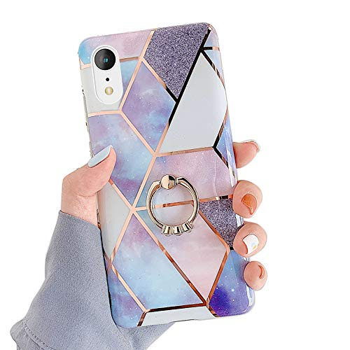 Qokey Compatible with iPhone XR Case,Stand Case Cute Fashion Bling for Men Women Girls with 360 Degree Rotating Ring Kickstand Soft TPU Shockproof Phone Cover Designed for iPhone XR 6.1' Light Blue