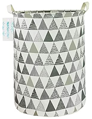 LANGYASHAN Storage Bin?Canvas Fabric Collapsible Organizer Basket for Laundry Hamper,Toy Bins,Gift Baskets, Bedroom, Clothes,Baby Nursery (Grey Triangle)