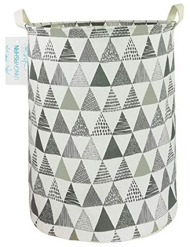 LANGYASHAN Laundry Basket Canvas Fabric Collapsible Organizer Basket for Storage Bin Toy Bins Gift Baskets Bedroom Clothes Children Nursery Hamper (Grey Triangle)