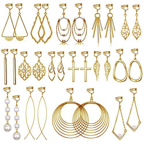 15 Pairs Gold Clip on Earrings for Women Fashion-Celtic Knot Earrings,Long Bar Earrings,Tear Drop Earrings Clip on Hoop Earrings for Women-Clipon Earrings for Womens Clip on Earrings for Girls (#3)