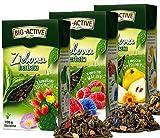 Juego de tres tés de hojas verdes con la adición de membrillo, manzana y piña. Herbapol, 3x100g La infusión favorece el rendimiento mental, la digestión y el adelgazamiento