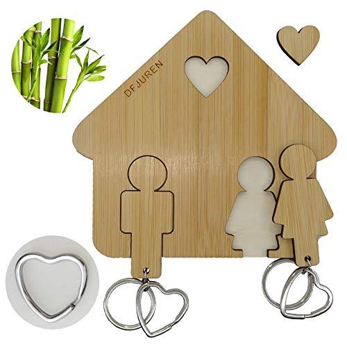 Llavero con soporte de pared de madera de bambú, accesorio perfecto para el hogar, regalo para parejas (El mundo de los dos)