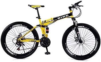 Mopoq Foldable MountainBike 24/26 Inches, MTB Bicycle with Spoke Wheel, Yellow