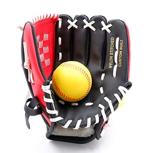 野球 グローブ 右投げ キャッチボール 子供 少年 大人用 9.5 10.5 11.5 12.5 インチ 柔らかいボール付き (スカーレット/ブラック, 9.5)