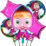 Masha Globo Set 5 piezas Suministros Globos Foil,Masha y el oso Decoración de cumpleaños ,Globo de aluminio para decoración de fiesta de cumpleaños infantil(18 pulgadas)