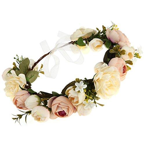 DDazzling Women Flower Headband Wreath Crown Floral Wedding Garland Wedding Festivals Photo Props (Champagne)
