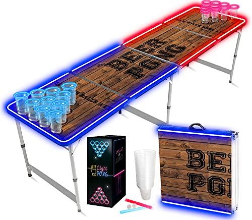 Offizieller Light Kit Beer Pong Tisch Set | Full Beer Pong Pack | Inkl. 1 Beer Pong Tisch + 120 53cl Becher (60 Rot & 60 Blau) + 6 Ping-Pong-Bälle | Premium Qualität | Partyspiele | Trinkspiele