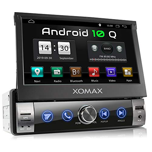 XOMAX XM-VA760 Autoradio mit Android 10, QuadCore, 2GB RAM, 32GB ROM, GPS Navigation I Support: WiFi WLAN, 3G 4G, DAB+, OBD2 I Bluetooth, 7 Zoll / 18 cm Touchscreen, USB, SD, AUX, 1 DIN