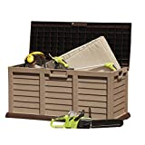 Garden Gear Plastic Garden Storage Box Chest Container, Weatherproof with Durable & Lockable Lid (440L Sit On Lid)