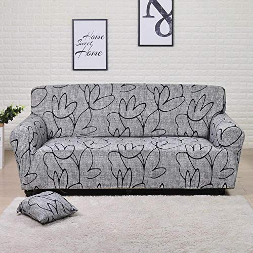 GJHGJ Funda de sofá elástica geométrica para Sala de Estar Funda de sofá seccional Moderna Funda Protectora para Silla 1/2/3/4 plazas-Gris Humo, 2 plazas 145-185cm, China