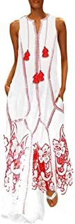 GDJGTA Dress for Womens Vintage Plus Size Daily Casual Sleeveless Cotton-Blend Summer Dress