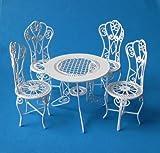 Creal 330071 Gartenmöbel Tisch + 4 Stühle Metall 1:12 für Puppenhaus