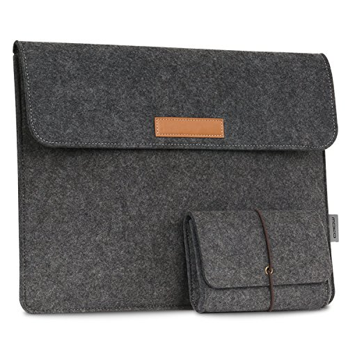 MoKo 13.5 Inch Laptop Sleeve Case Bag Compatible with Surface Laptop 3 13.5'/2/1/Surface Book 2 13.5, Felt Protective Ultrabook Carrying Case Cover, with Small Felt Bag & Two Back Pockets - Dark Gray