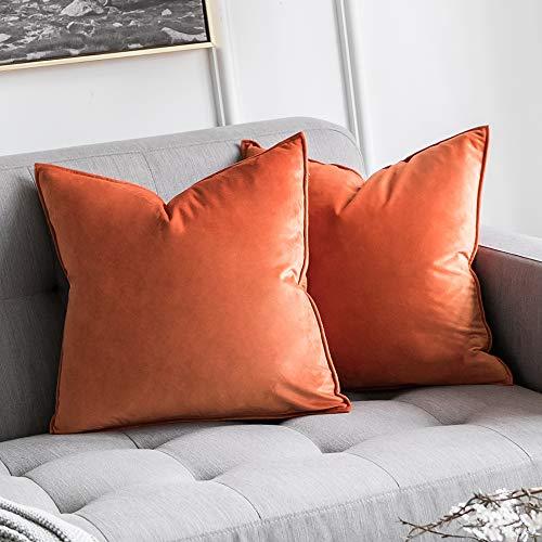 MIULEE 2er Set SAMT Kissenbezug Kissenhülle Dekorative Dekokissen mit Verstecktem Reißverschluss Sofa Schlafzimmer Auto 18x 18 Inch 45 x 45 cm 2er Set Orange