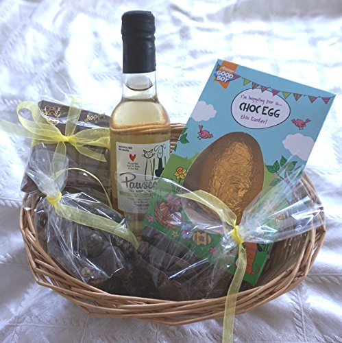 Paradise Pets DOG EASTER HAMPER WITH EASTER EGG & DOG SAFE PAWSECCO WINE CHOCOLATE & TREATS GIFT WRAPPED