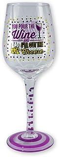 Live Love Wine Hand Painted Wine Glass with Rhinestones and Glitter - Wine & Cheese
